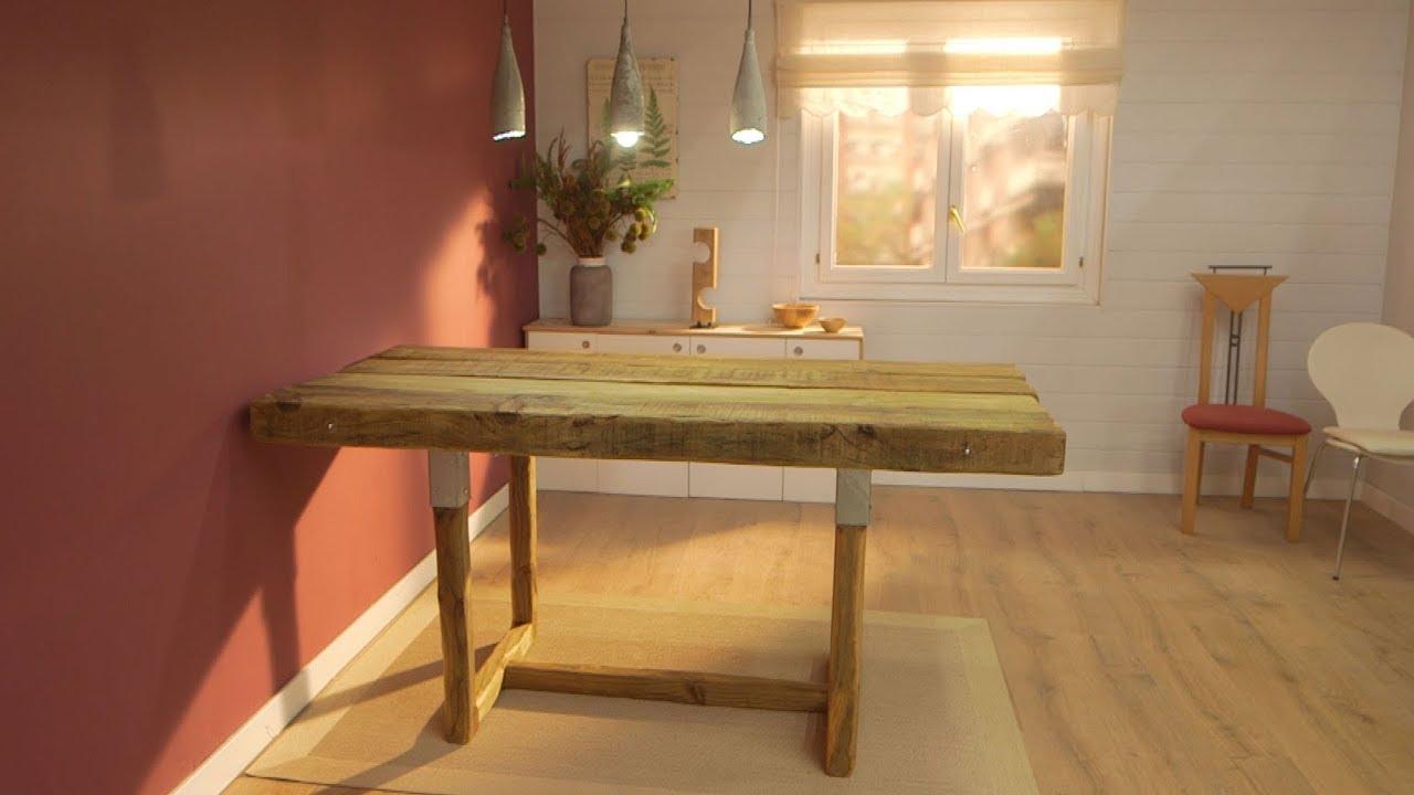 Cómo hacer una mesa de comedor con traviesas de madera de Bricomanía -  Programa completo