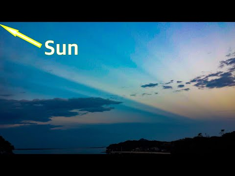 Flat earth sun debunked with one photo ☀️ anti crepuscular rays of the globe earth model 🌏 thumbnail