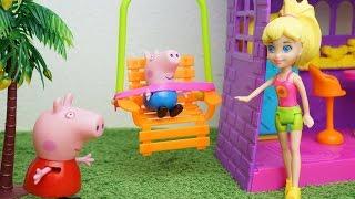 Pig George e Peppa Pig Brincando na Casa da Polly!! Em português KidsToys