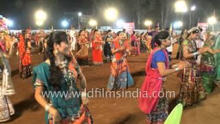 Young Gujarati girls dance Garba : Navratri celebrations in India