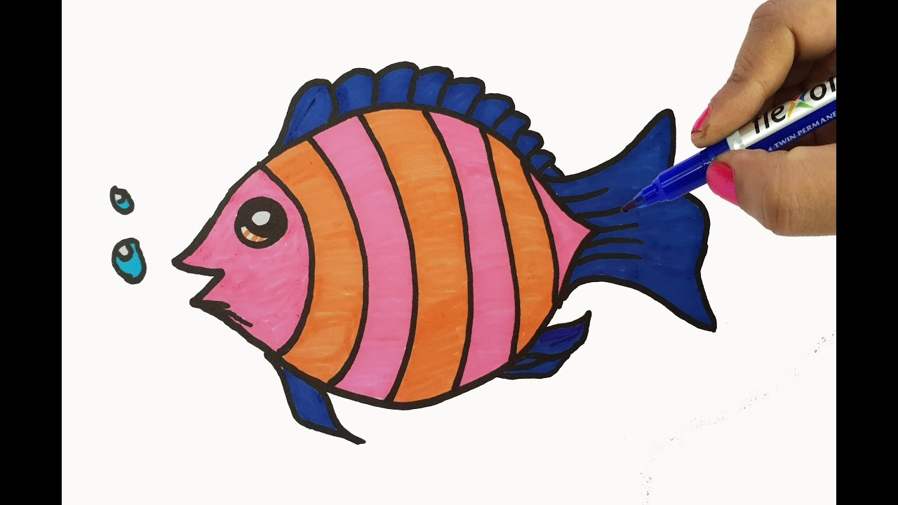 Coloring Fish Drawing For Kids Colors With Fish Shapes Easy Cute