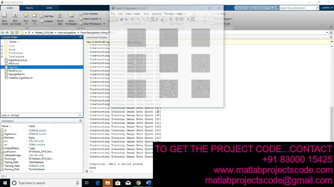 MATLAB CODE FOR FACE RECOGNITION USING PCA