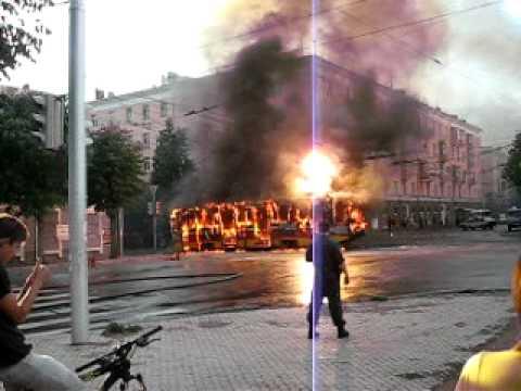 Уфа, сгорел трамвай.
