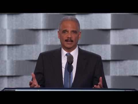 Former U.S. Attorney General Eric Holder at DNC 2016