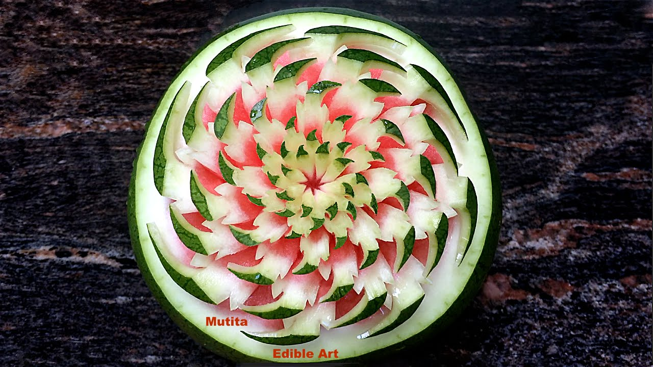 Watermelon carving into a flower eagle claws advanced