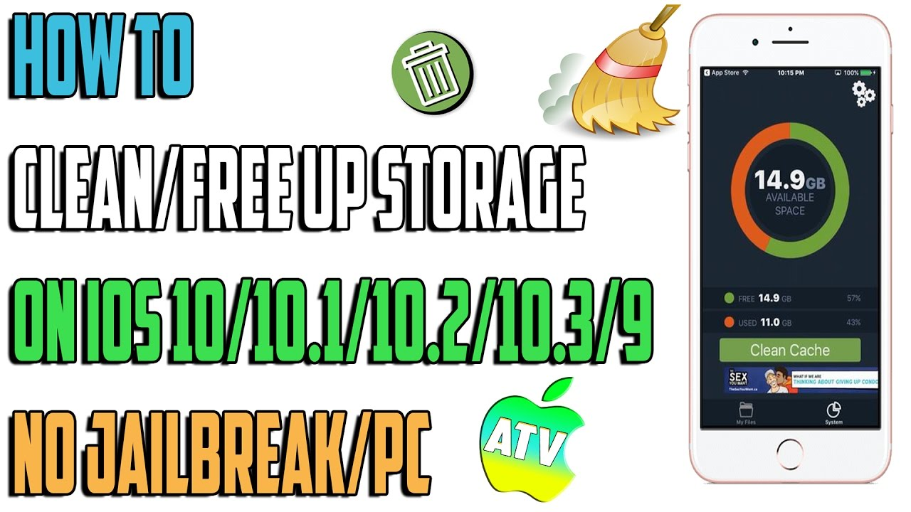 how to clean free up storage on ios 10 10 1 10 2 10 3 10 3 2 9 n0 jailbreak pc youtube. Black Bedroom Furniture Sets. Home Design Ideas