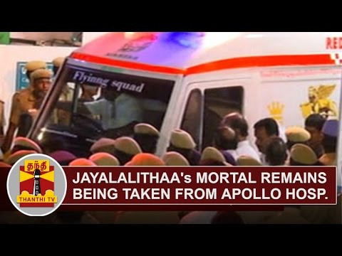 jayalalithaa's-mortal-remains-being-taken-from-apollo-hospital-to-poes-garden-residence- -thanthi-tv