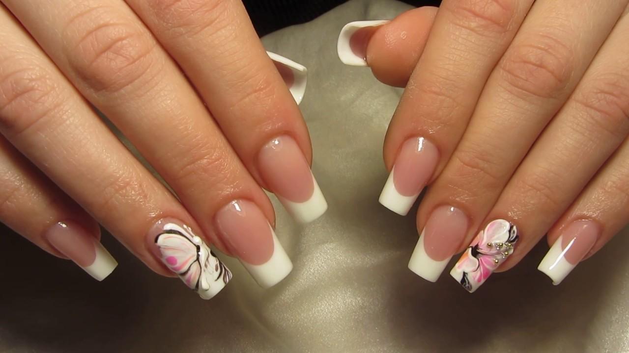 Французский маникюр и роспись на ногтях 80