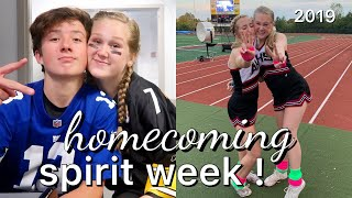 HOMECOMING SPIRIT WEEK VLOG 2019 - cheering, dress up, football, highschool