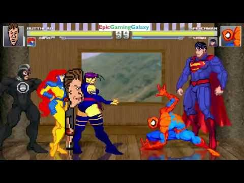 Superman And Spider-Man VS Butt-head And Jean Grey In A MUGEN Match / Battle / Fight