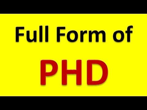 Full Form of PHD - YouTube