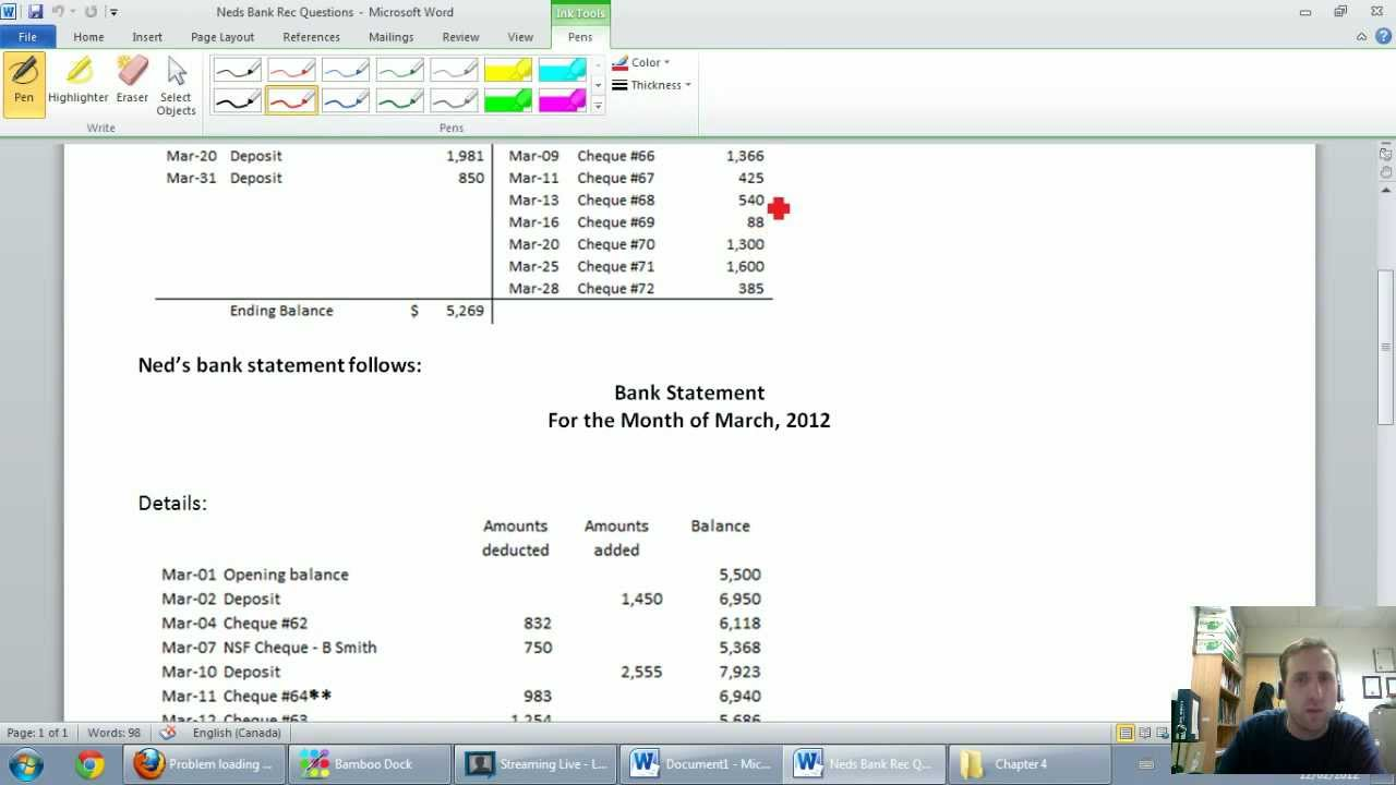 accounting unit 4 part 2 bank reconciliations example youtube