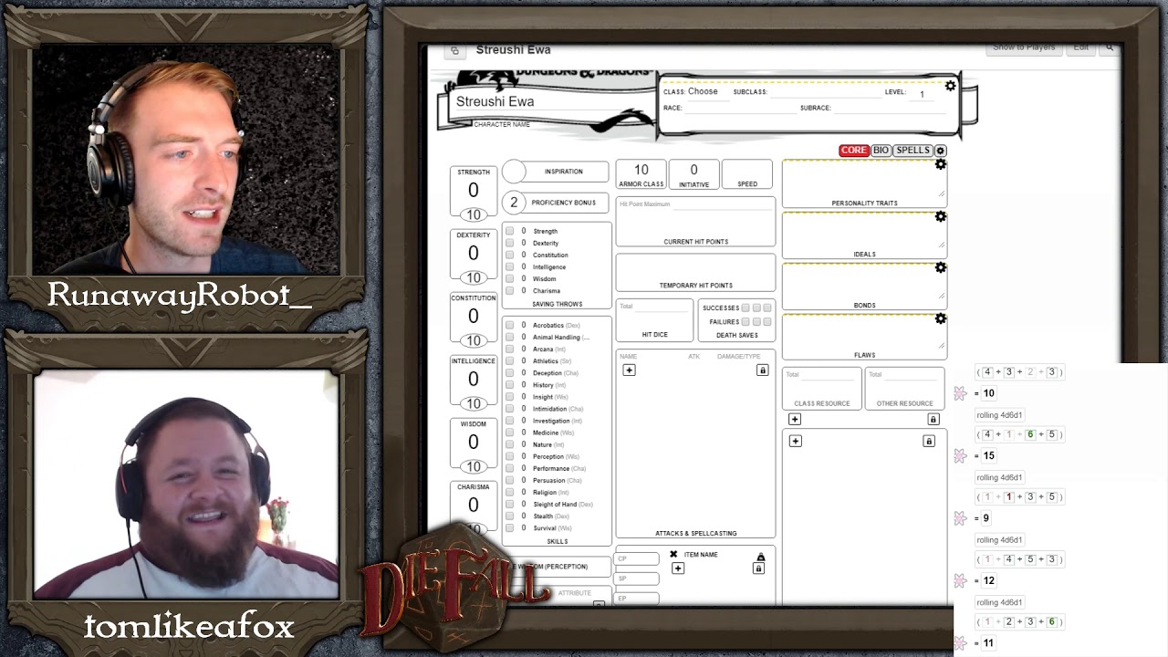Dungeons and Dragons Warlock Roll20 Character Creation - DnD 5e - DieFall:  The Aspects