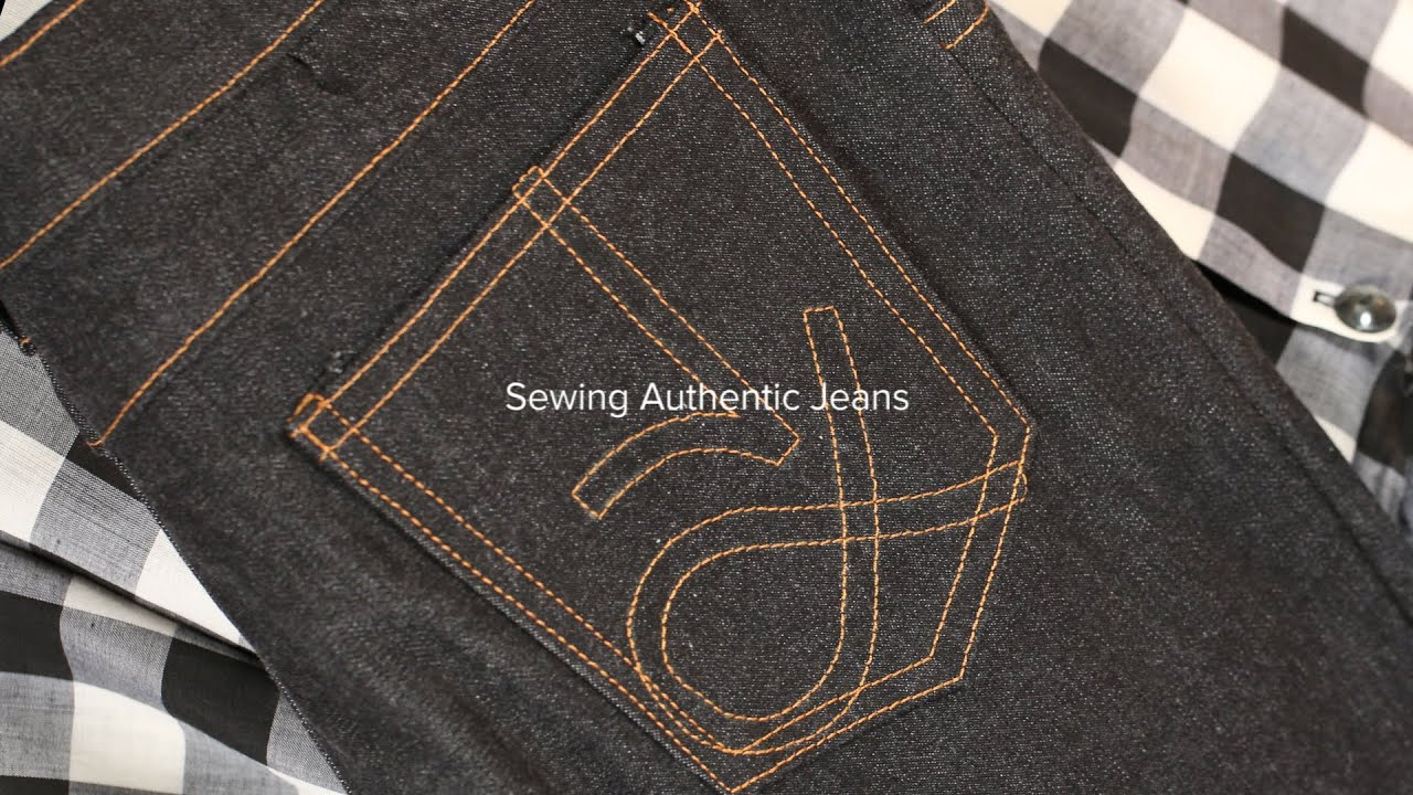 Sewing jeans part embroider the back pocket logo youtube