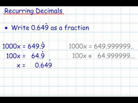Recurring Decimals (GCSE Mathematics Number)