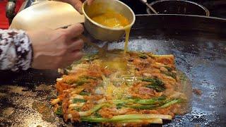 a 70 year tradition - welsh onion pancake (동래파전, pajeon, ねぎのチヂミ , 葱煎饼) / korean street food