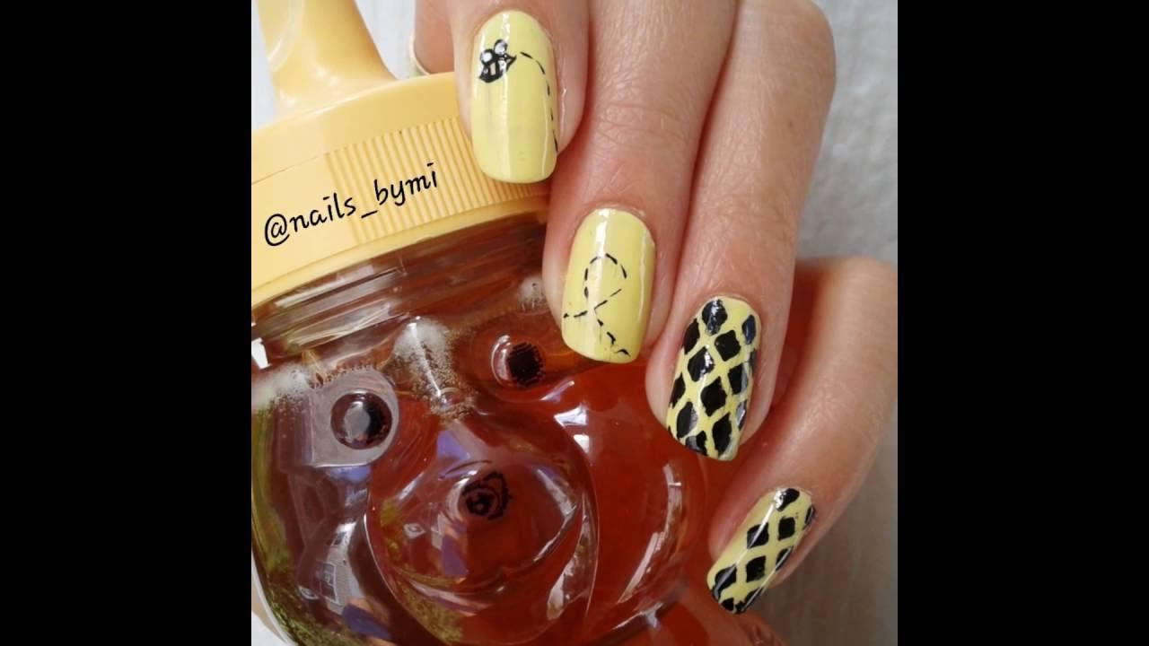 Honey Bee Nail Art Design Youtube