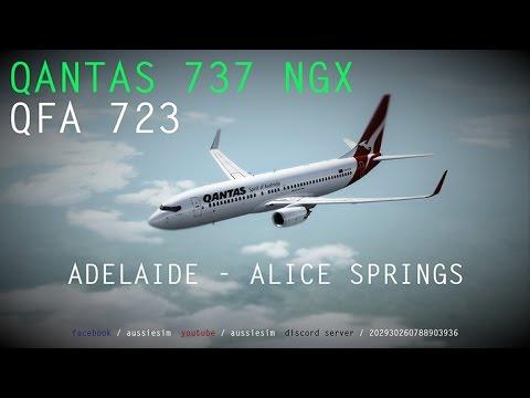 QANTAS 737 DEPARTURE YPAD - QFA723 Adelaide to Alice Springs