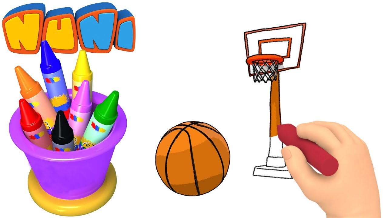 NuNi Art Basketball drawing for kids coloring videos