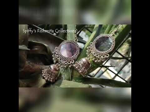 Spiffy's Rishmita Collections Silver Mirror Jhumka Earring