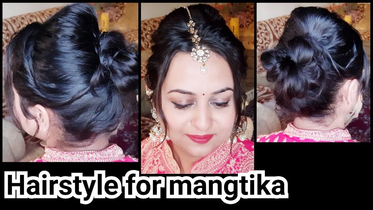 indian bun hairstyle with mangtika for very thin hair// easy puff  hairstyles for short/medium hai