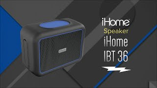 iHome Black/Blue Rugged Portable Waterproof Bluetooth Stereo Speaker IBT36BLC - Overview