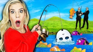 Giant Gone Fishing Game in Real Life! (Found Game Master Clues in Backyard) | Rebecca Zamolo