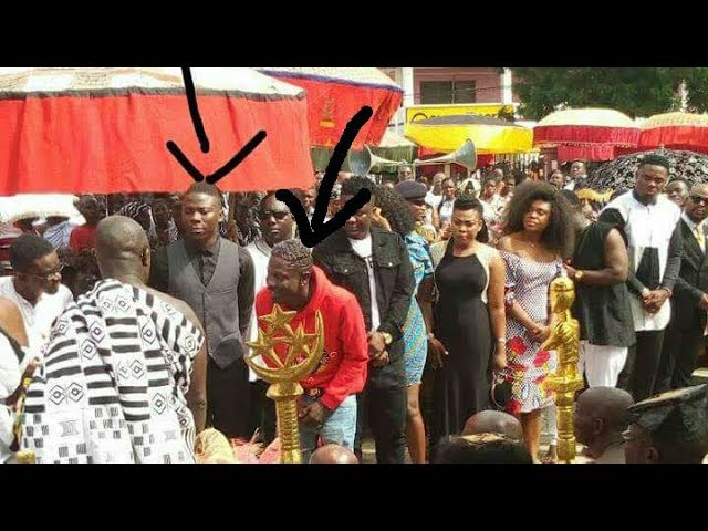 Peace, Shatta Wale and Stonebwoy stand together at Manhyia Palace for Akwasidea Festival in Kumasi