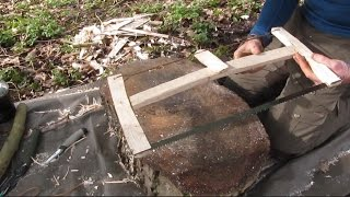 Bushcraft Collapsible Bucksaw. How to make one in camp using basic bushcraft tools.