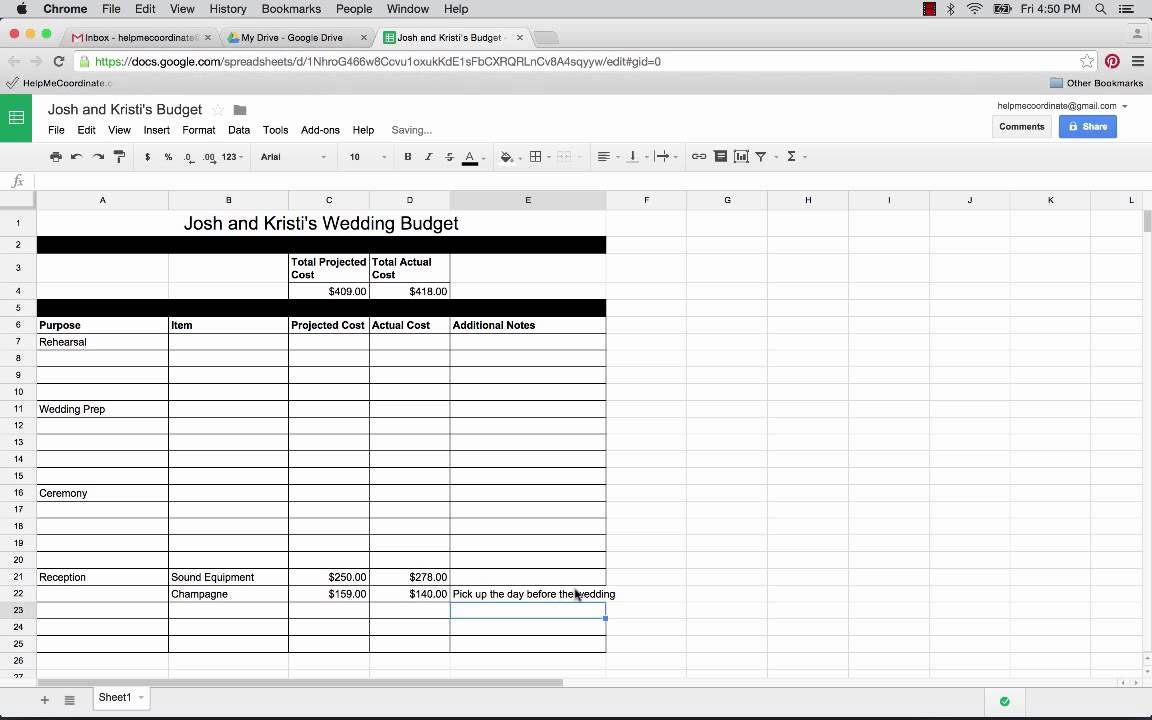 How To Use Google Docs And Sheets Plan Your Wedding