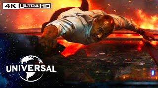 Skyscraper | Dwayne Johnson Leaps from a Crane Into a Burning Building in 4K HDR
