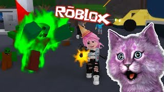 ATTACK of the zombies in ROBLOX ROBLOKS ZOMBIE ATTACK CAT LANA and cat LEO hunt