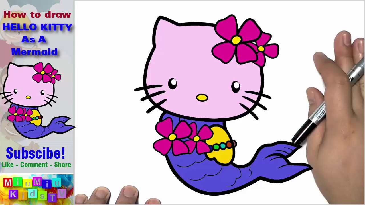 how to draw and color hello kitty as a mermaid with color pencil