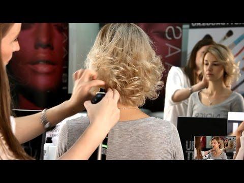 Укладка на короткий волос с помощью плойки