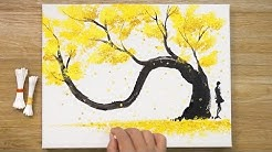 How to draw a Yellow Tree / Cotton Swabs Painting Technique #426