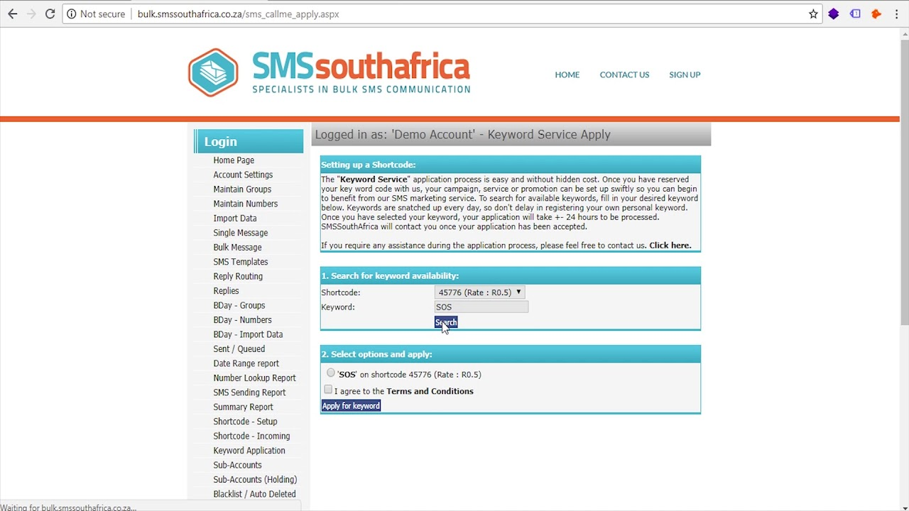 How To Ly For A Short Code 5 Digits Keyword Sms South Africa