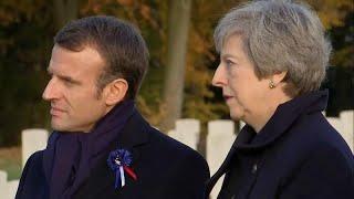 Macron y May conmemoran juntos el armisticio