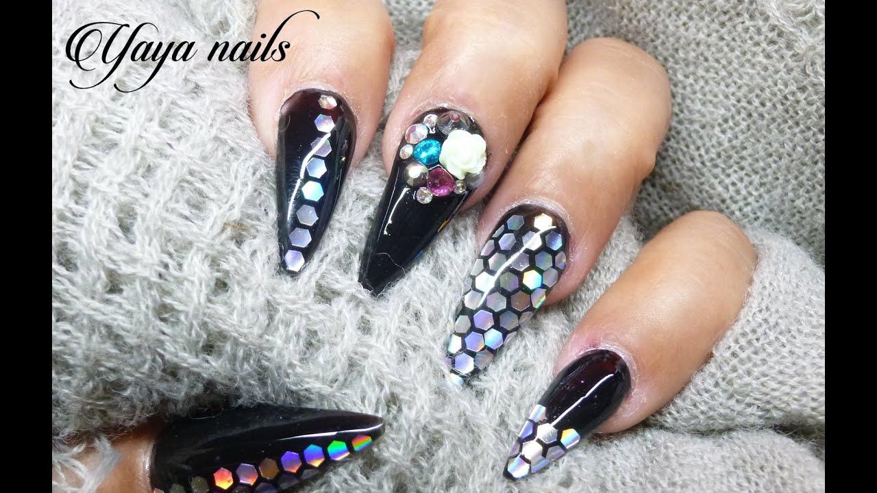 Diseño De Uñas Acrilicas Negro Y Plata Stiletto