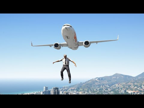 Crazy Pilot Jumps Out of 737 Airplane During Emergency Landing | GTA 5