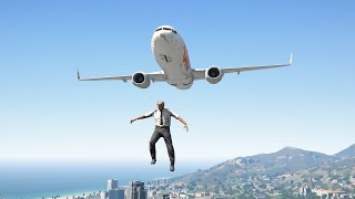 Crazy Pilot Jumps Out of 737 Airplane During Emergency Landing   GTA 5