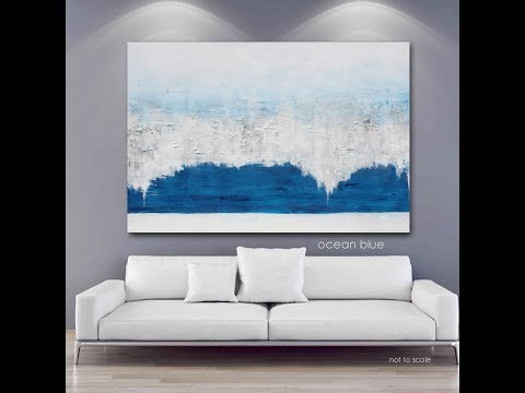 Ocean Blue Large Abstract Art Painting - Large Wall Hanging