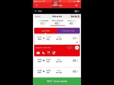 How To Book An Air Ticket With Air Asia Mobile App (Khmer Language)