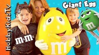 GIGANTIC m+m EGG TOY SURPRISES Inside! SpongeBob, Candy HobbyKidsTV