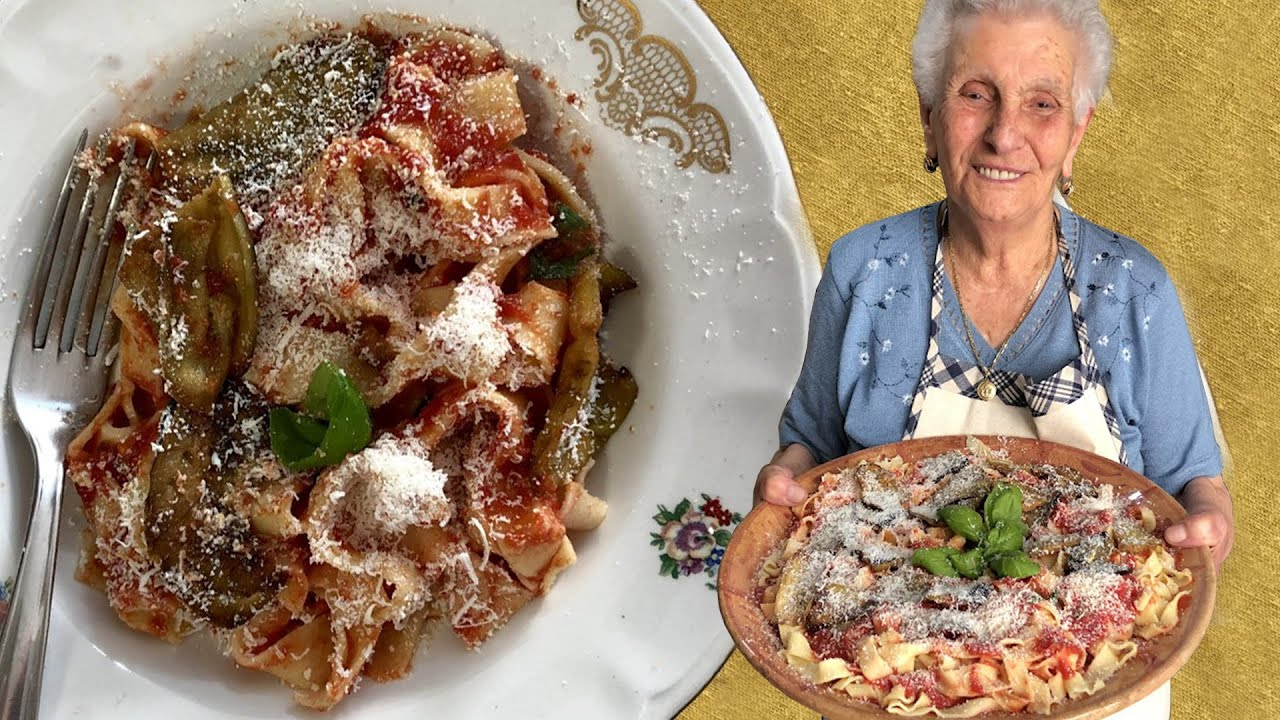 90 year old Caterina makes Sicilian 'lasagne' with eggplant & tomato sauce
