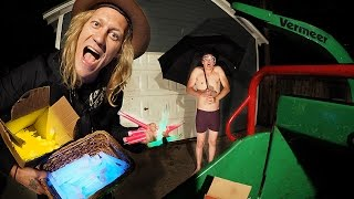 1000 Glow Sticks in a Wood Chipper VS Umbrella Man!