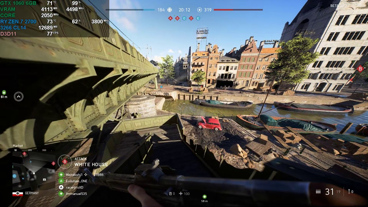 Battlefield V | GTX 1060 6GB - Ryzen 7 2700 - 16GB | 1080p Ultra | DX11 VS  DX12 by NiggaDoge