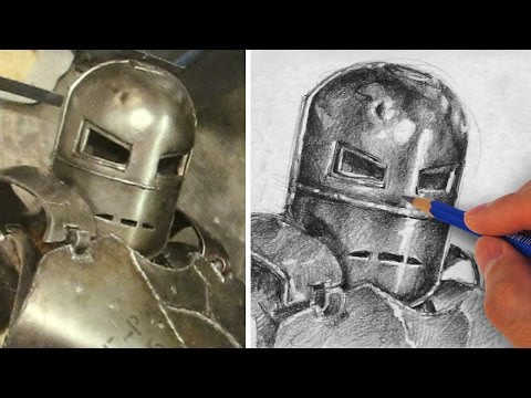 How To Draw and Shade Metal - Drawing Iron Man
