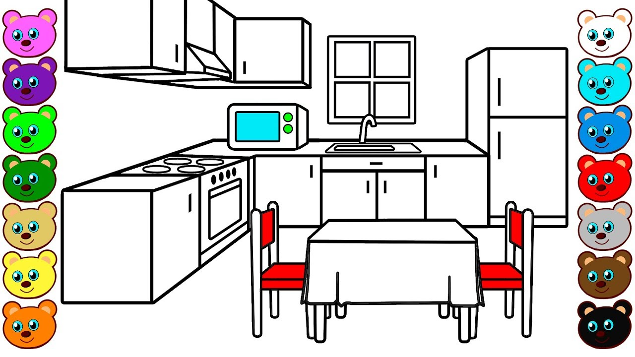 Family Kitchen Coloring Pages for Children YouTube