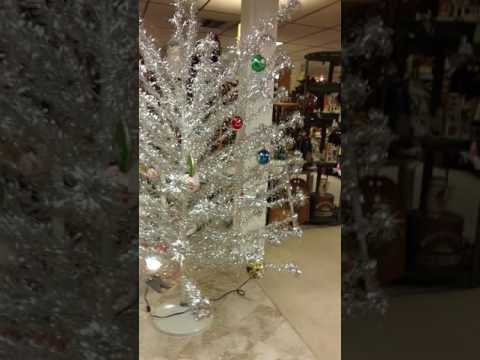 Vintage aluminum rotating musical Christmas tree