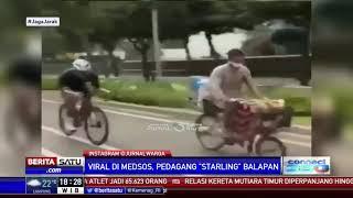 Pedagang Kopi Keliling Balapan di Jalan Raya